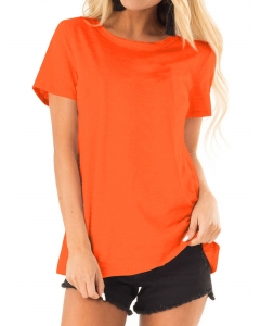 Dresswel Women Solid Color Crewneck Short Sleeve Casual Basic T-Shirts Tops