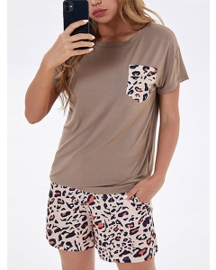 Dresswel Women Lepoard Printed Pocket Front Tie Waist T-Shirt Shorts Loungewear Set