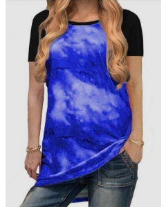 Dresswel Women Tie-Dye Gradient Contrast Color Crew Neck Short Raglan Sleeve Tee Top