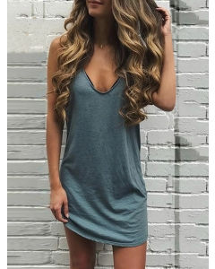 Dresswel Women V Neck Sleeveless Comfy Solid Color Slim Simple Fashion Mini Dress