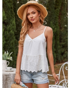 Dresswel Women Solid Color Crochet Cutout Wavy Hem Spaghetti Strap V Neck Cami Tops