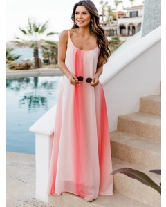 Dresswel Women Dip Dye Gradient Backless Spaghetti Strap Scoop Neck Beach Maxi Dress