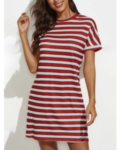 Dresswel Women Horizontal Stripes Short Sleeve Round Neck Stitching Mini Dress
