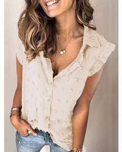 Dresswel Women Swiss Dot Single-breasted Lapel Ruffled Short Sleeved T-shirt Blouse Tops