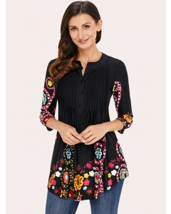Lunawe Women Floral Print Button Down Pleated V Neck 3/4 Sleeve Blouse Tops