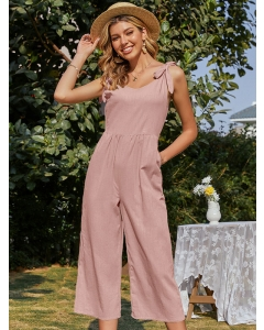 Dresswel Women Solid Color Bow-Knot Strappy Side Pocket V Neck Sleeveless Casual Jumpsuit