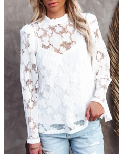 Dresswel Women Solid Color Lace Hollow Out Long Sleeve Mock Neck Blouse Tops