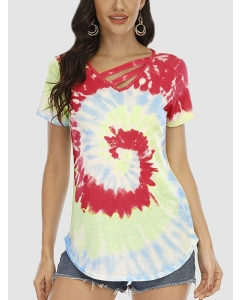 Dresswel Women Tie-dyed Color Block Hollow Out V Neck Short Sleeve Casual T-shirt Tops