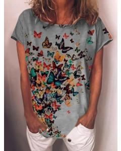 Dresswel Women Butterfly Graphic Printed Crew Neck Short Sleeve Novelty T-shirt Tops