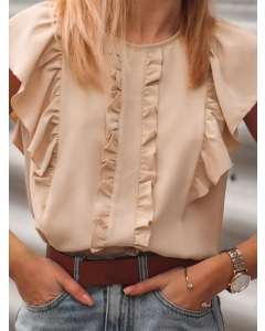 Dresswel Women Solid Color Short Sleeve Round Neck Ruffled Splicing Blouse Tops