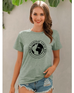 Dresswel Women Make Everyday Earth Day Letter Print Crew Neck Leisure T-shirt Tops