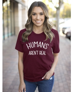 Dresswel Women Humans Aren't Real Letter Printed Short Sleeve Funny Cute T-Shirts Tops