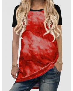 Dresswel Women Tie-Dyed Contrast Color Stitching Crew Neck Short Sleeve T-shirt Tops