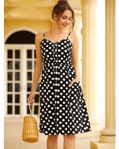 Dresswel Women V Neck Polka Dots Flower Spaghetti Strap Buttons Pockets Midi Dress