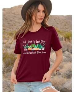 Dresswel Women Let's Root For Each Other And Watch Each Other Grow Printed Tee Tops