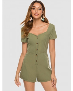 Dresswel Women Solid Color Square Neck Short Sleeve Buttons Slim Stylish Romper