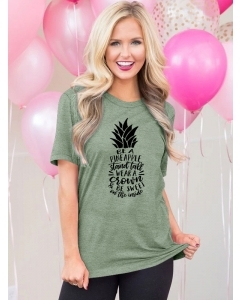 Dresswel Women Be A Pineapple Stand Tall Wear A Crown Be Sweet Print T-shirt Tops