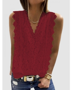 Dresswel Women Solid Color V Neck Lace Flower Pattern Sleeveless Fashion Shirts Blouse Tops