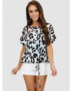 Dresswel Women Cow Pattern Gradient Tie Waist Crew Neck Short Sleeve T-shirt Tops