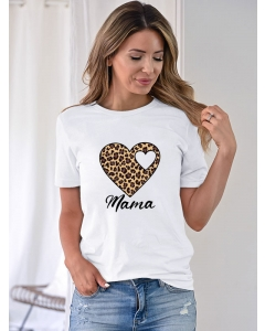 Dresswel Women Mama Letter Leopard Peach Hearts Printing Crew Neck T-shirt Tops