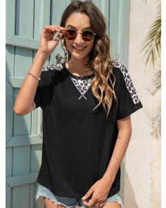 Dresswel Women Leopard Colorblock Round Neck Short Sleeve Relaxed Comfy T-Shirts Tops
