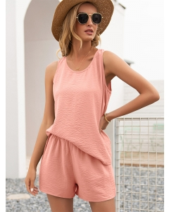 Dresswel Women Solid Color Round Neck Sleeveless Relaxed Comfy Tops Shorts Loungewear Set