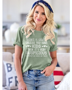 Dresswel Women Silence Is Great Unless You Have Kids Peach Hearts Printed Tee Tops