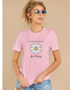 Dresswel Women In A World Full Of Roses Be A Daisy Grapihc Print Crew Neck T-shirt Tops