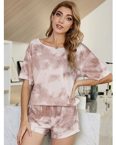Dresswel Women Tie Dye Printed Crew Neck Short Sleeve Home Wear Comfy Loungewear