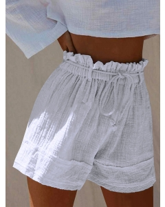 Dresswel Women's Summer Shorts Solid Color Stitching Elastic High Waist Strappy Shorts Bottoms