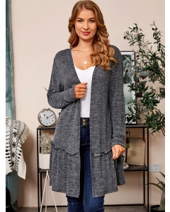 Dresswel Women Solid Color Ruffled Detail Hem Long Sleeve Relaxed Fit Cardigan Tops