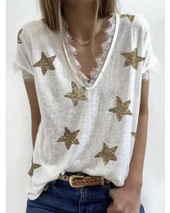 Dresswel Women Gold Five-Pointed Star Print Lace Trim Stitching V Neck T-shirt Tops