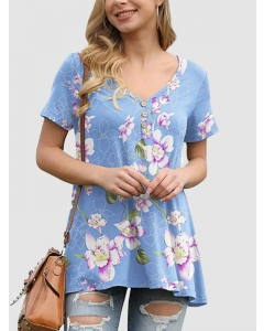 Dresswel Women Floral Graphic Printing Button Short Sleeve V Neck T-shirt Tops
