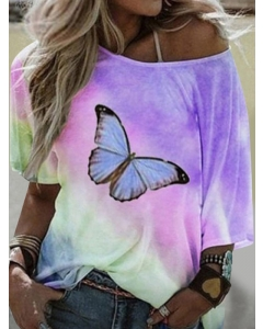 Dresswel Women Butterfly Print Gradient Short Sleeved Short Sleeve Loose T-shirt Tops