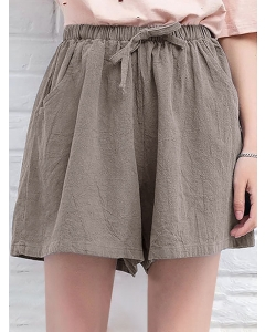 Dresswel Women's Summer Shorts Solid Color Pockets Elastic High Waist Tie Wide Leg Shorts Bottoms