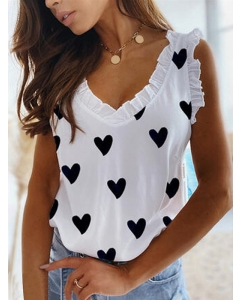 Dresswel Women Sleeveless Heart Pattern Printed Pleated V Neck Shirts Tops