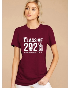 Dresswel Women Class Of 2021 Pandemic Style Letter Disinfectant Print T-shirt Tops