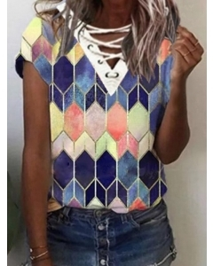 Dresswel Women Lace Up V Neck Short Sleeve Geometric Printed Colorblock T-Shirts Tops