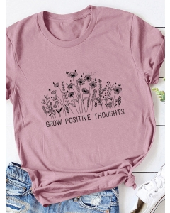 Dresswel Women Grow Positive Thoughts Letter Floral Leaves Printing T-shirt Tops