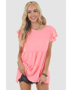 Dresswel Women Solid Color Crew Neck Short Sleeve Pleated Loose Simple T-Shirt Tops