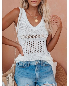 Dresswel Women Solid Color Stitching Dots Hollow Out V Neck Sleeveless Tank Top