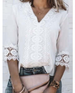Dresswel Women Solid Color Lace Pattern Crochet Hollow 3/4 Sleeve V Neck Blouse Tops