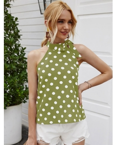 Dresswel Women Polka Dots Printed Knotted Crew Neck Sleeveless Stylish Blouse Tops