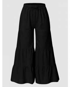 Dresswel Women's Casual Pants Solid Color Stitching Elastic High Waist Tie Wide Leg Pants Bottoms
