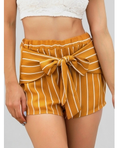 Dresswel Women's Summer Shorts Stripes Bow-Knot Stitching Elastic High Waist Street Shorts Bottom