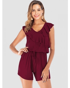 Dresswel Women Solid Color Ruffled Trim Stitching Back Keyhole Self-tie Romper Jumpsuit