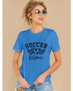 Dresswel Women Soccer Mom Letter Heart Football Printing Short Sleeve T-shirt Tops