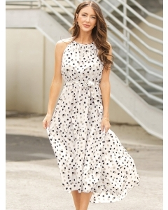 Dresswel Women Polka Dots Tie Waist Irregular Hem Racerback Halter Neck Midi Dress