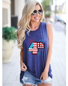 Dresswel Women 4th American Flag Firework Graphic Sleeveless Independent Day Tank Top