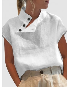 Dresswel Women Solid Color Buttons High Neck Short Sleeve Slim Simple Comfy Shirt Tops
